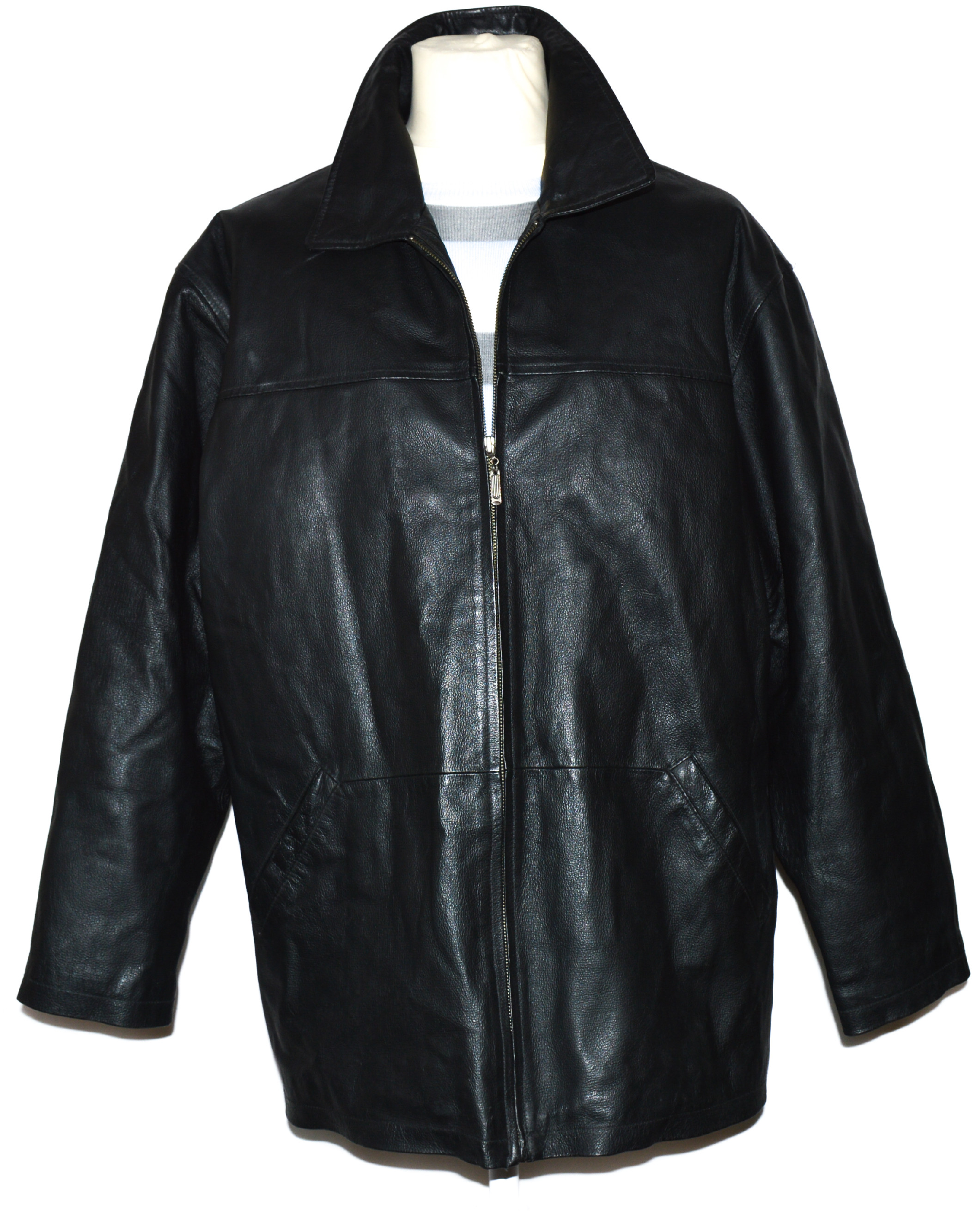KOŽENÁ pánská černá zateplená bunda na zip L