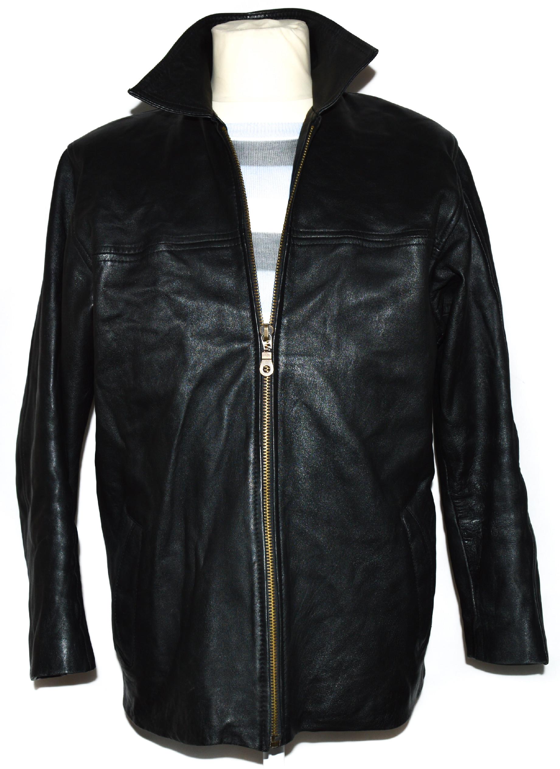 KOŽENÁ pánská černá měkká zateplená bunda na zip M