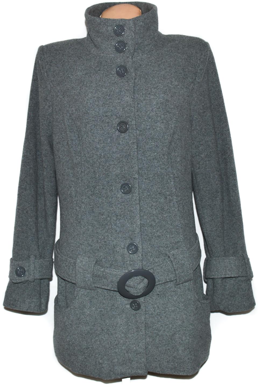 Vlněný dámský šedý kabát s páskem Bodyflirt XXL 06d859ef141