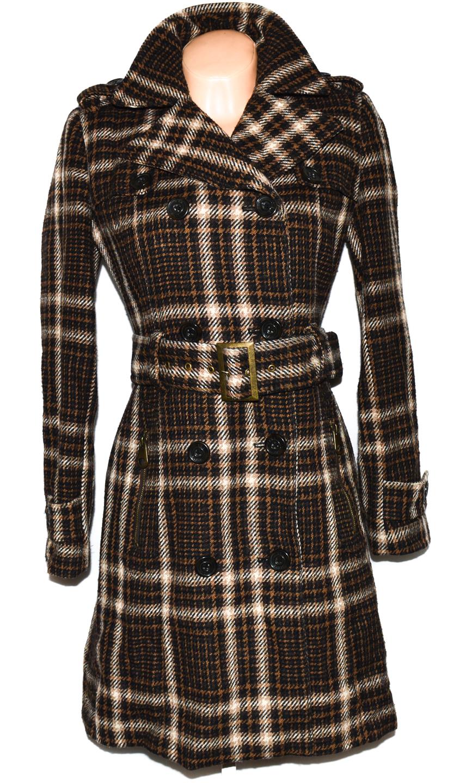 Vlněný dámský hnědý kabát s páskem ZARA L