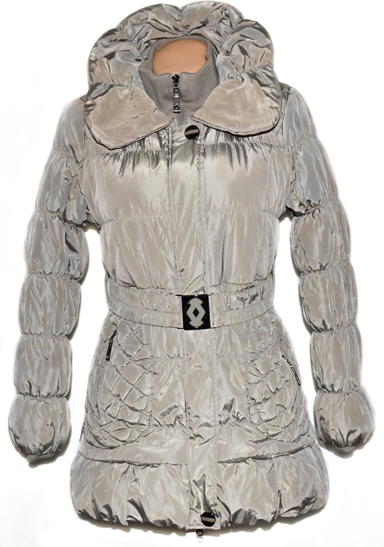 Dámský béžový šusťákový kabát s páskem a kožíškem S/M