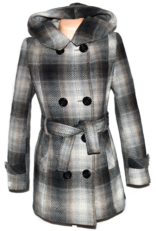 Vlněný (80%) dámský zateplený kabát s páskem a kapucí L b553dd7013c