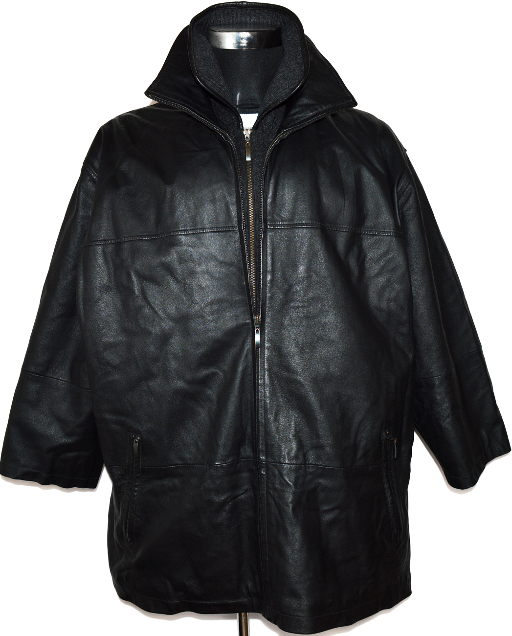 KOŽENÁ pánská černá měkká bunda na zip XXL
