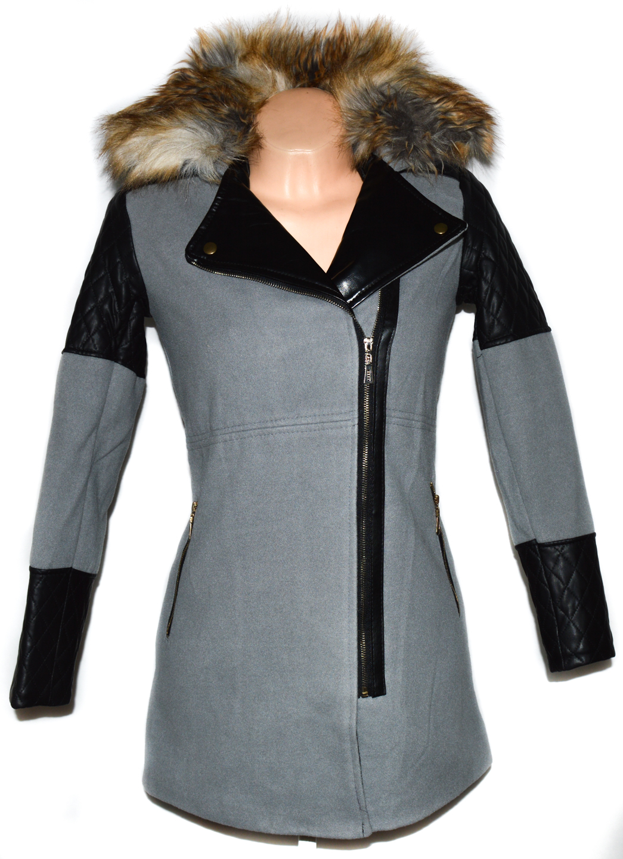Vlněný dámský zateplený šedý kabát - křivák s kožíškem S