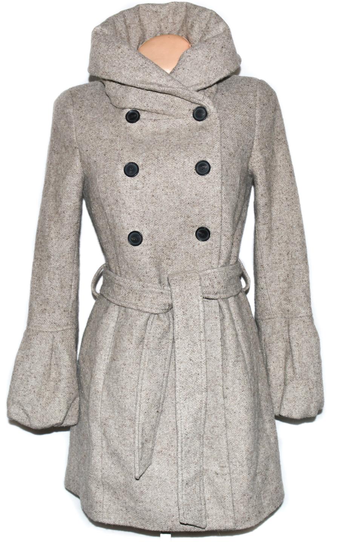 Vlněný dámský béžový kabát s páskem ZARA S a5d146ceca