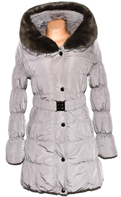Dámský béžový prošívaný kabát s páskem a límcem Forest M, L, L/XL, XXL