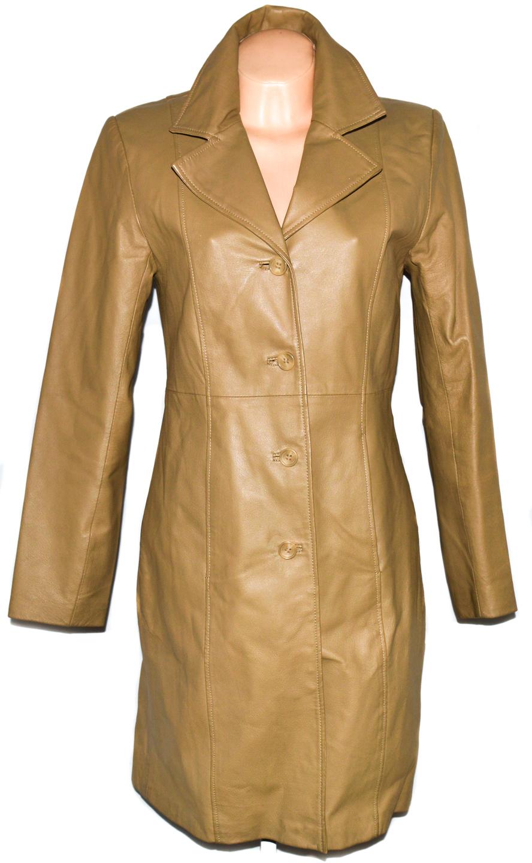 KOŽENÝ dámský hnědý dlouhý kabát CLOCKHOUSE S
