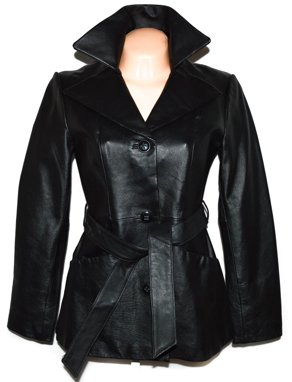 KOŽENÝ dámský černý kabát s páskem East5th S