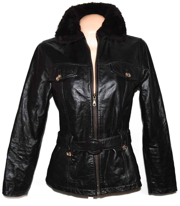 KOŽENÝ dámský hnědý kabát s páskem ZARA M