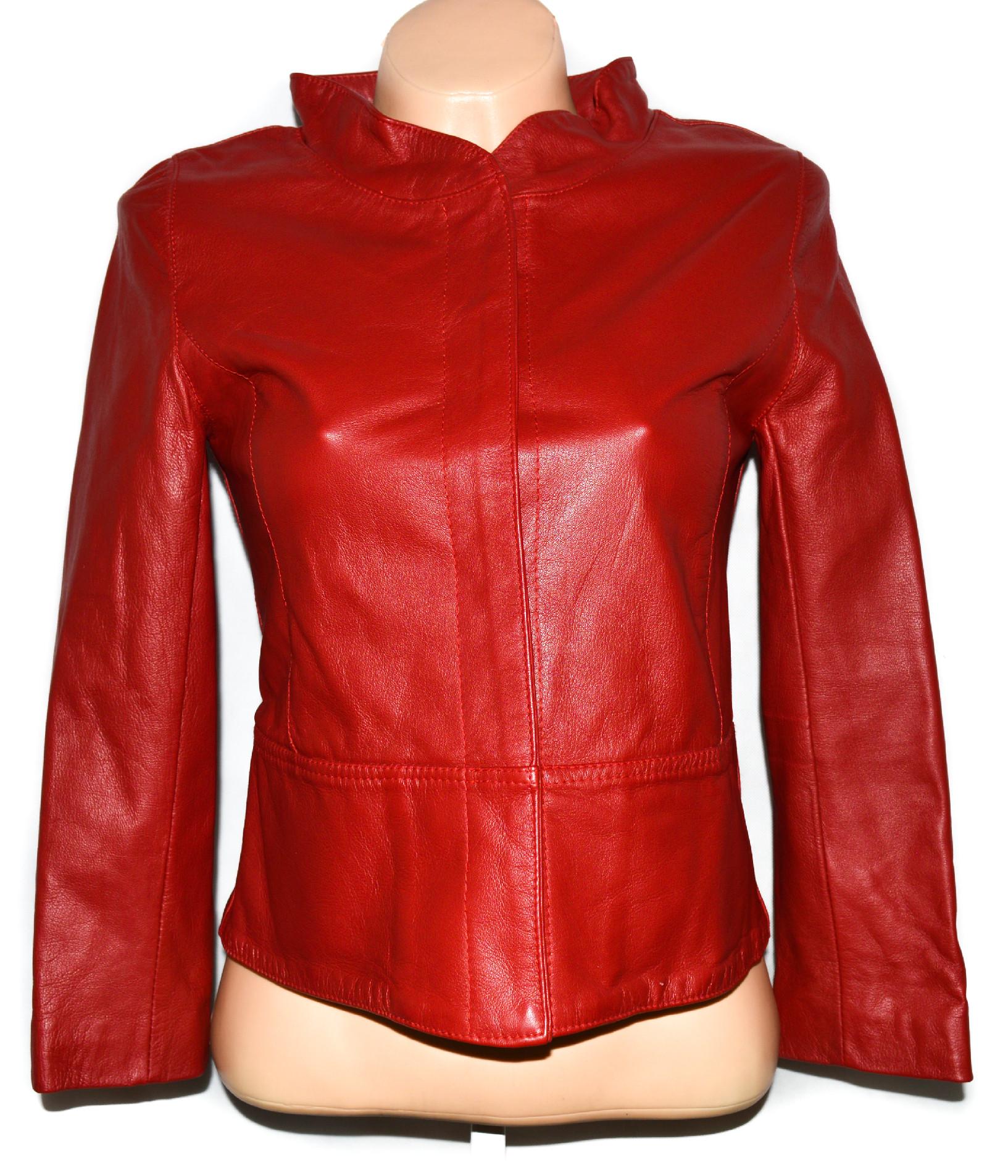KOŽENÁ dámská červená měkká bunda XS/S