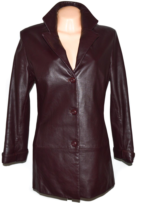 KOŽENÝ dámský měkký hnědovínový kabát L/XL