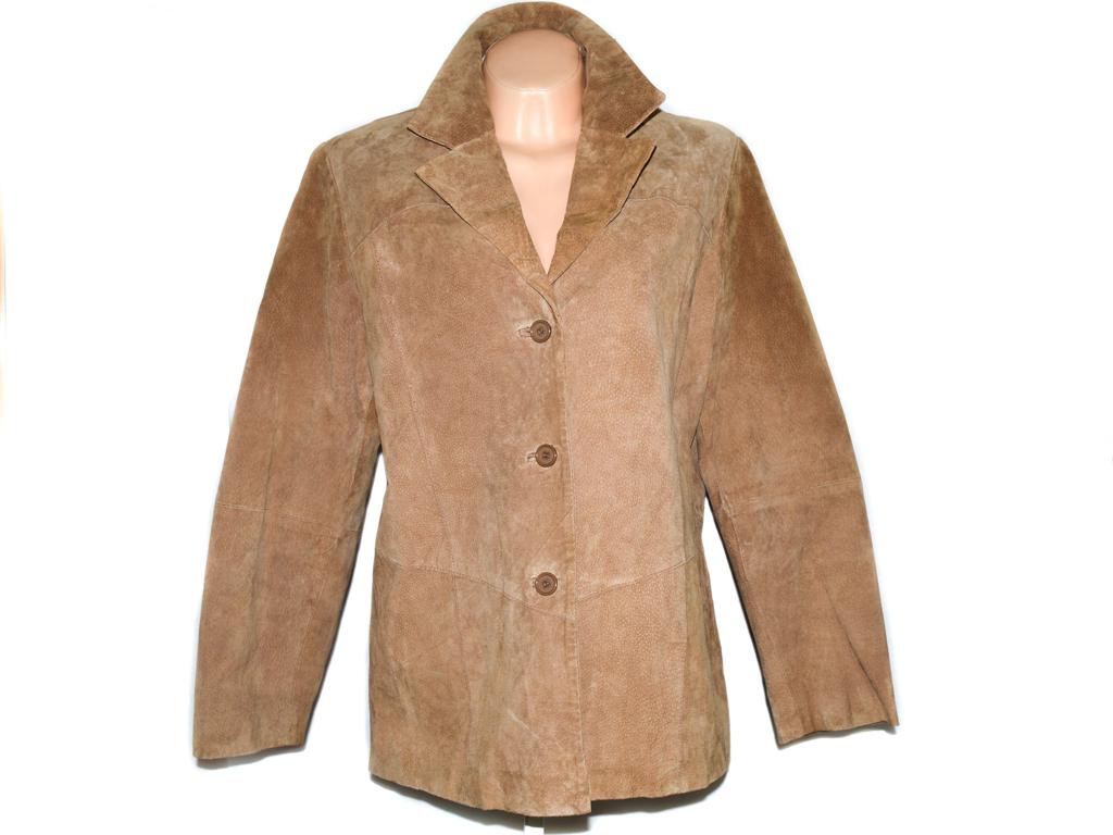 KOŽENÝ dámský béžový broušený kabát XXL