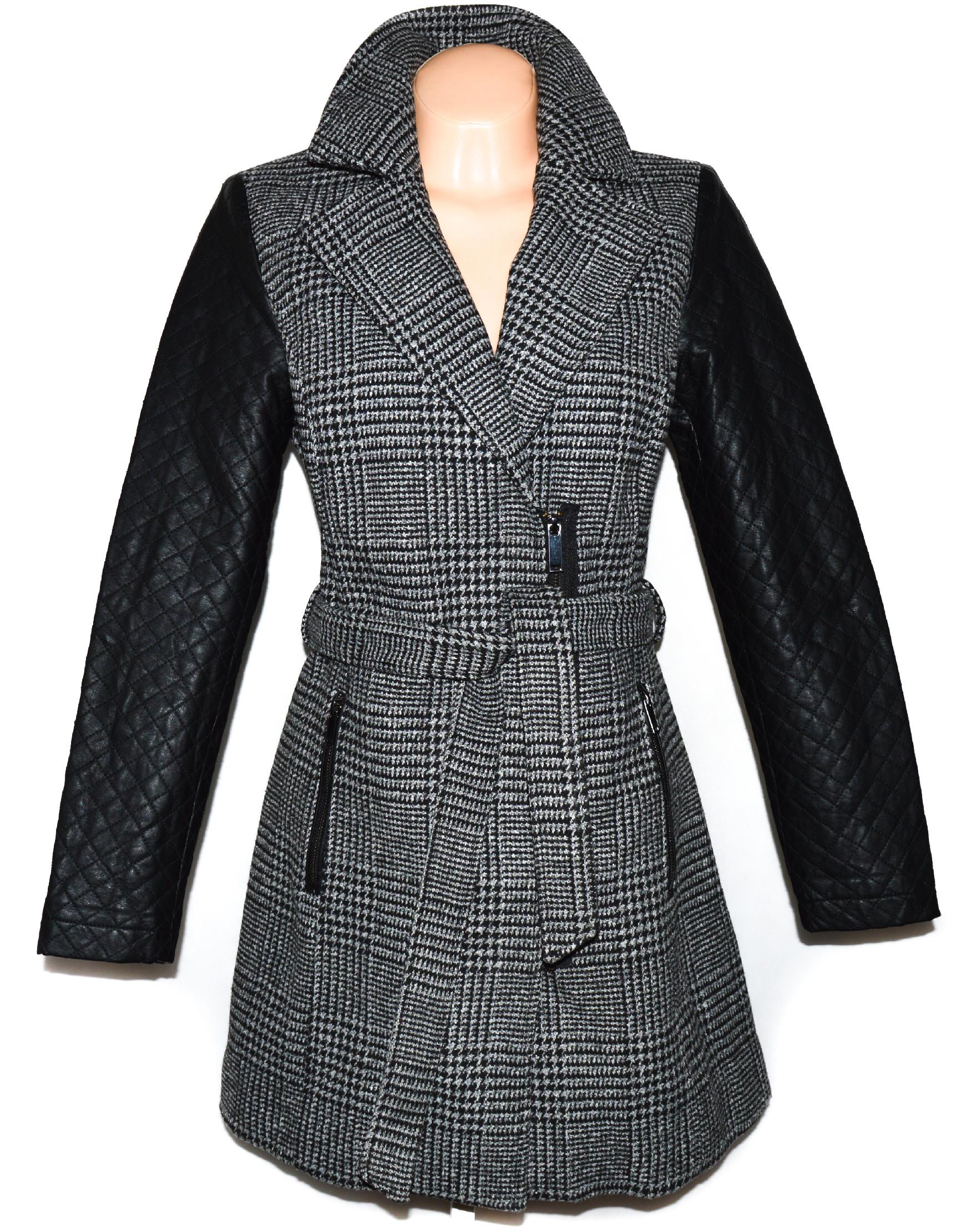 Dámský šedočerný kabát - křivák s koženkovými rukávy C&A XL