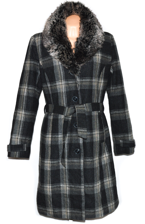 Dámský zateplený šedý dlouhý kabát s páskem a kožíškem ORSAY 36, 44
