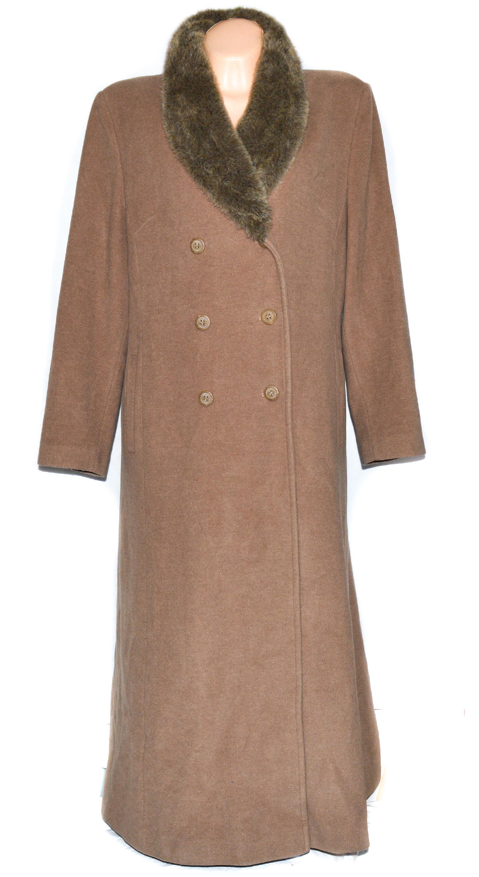 Vlněný dámský dlouhý béžový kabát s kožíškem XXL