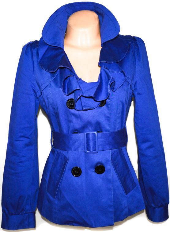 Bavlněný dámský modrý kabát s páskem EVIE UK 12