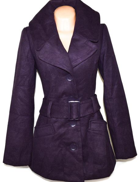 Dámský fialový kabát s páskem NEW LOOK M