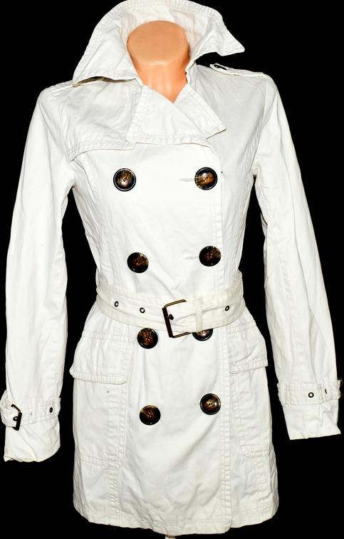 Bavlněný dámský bílý kabát s páskem QUIZ UK 10