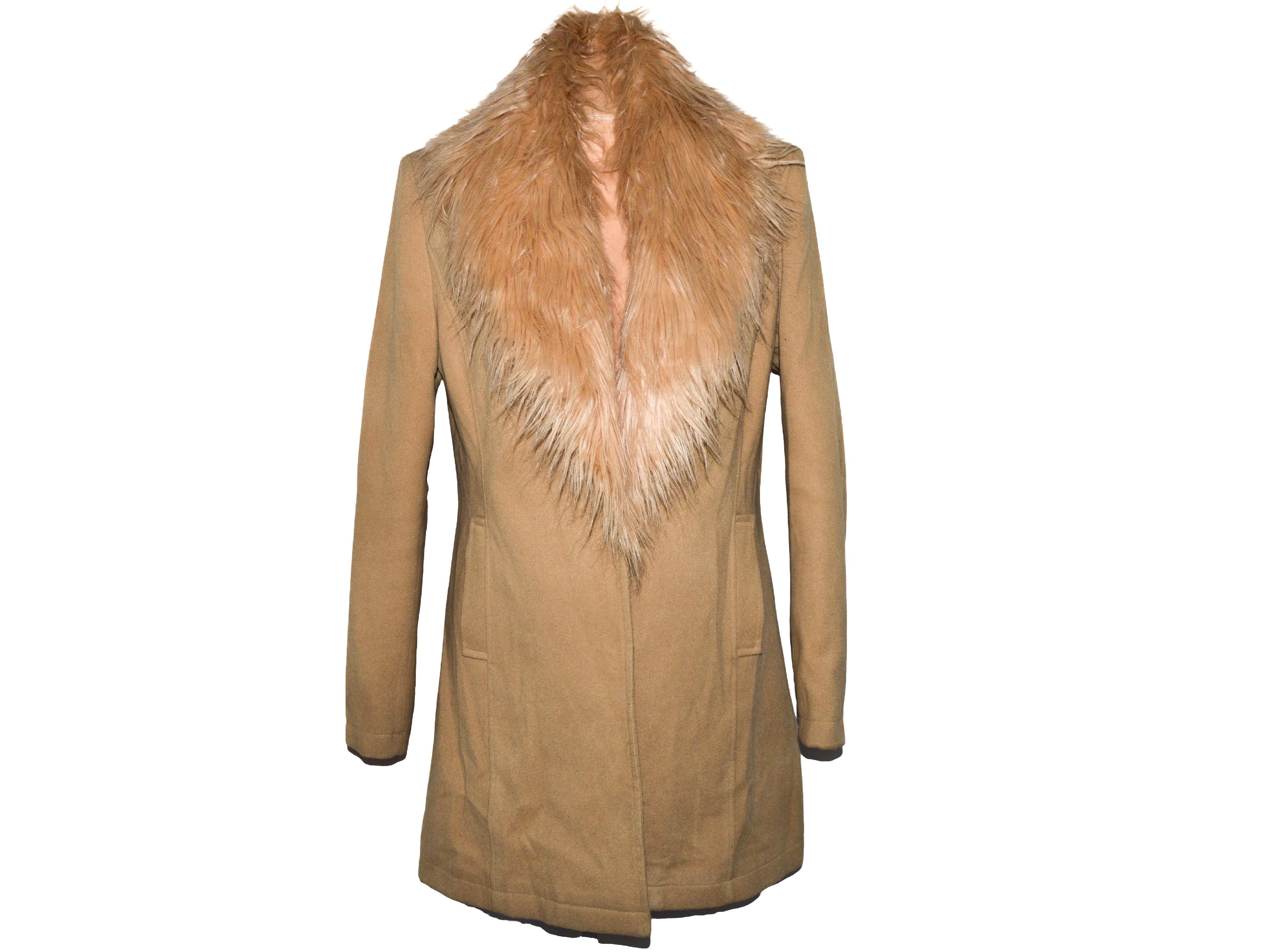 Dámský béžový kabát s kožíškem BooHoo 42