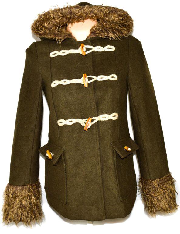 Dámský zelený kabát na vidlice s kapucí S, L
