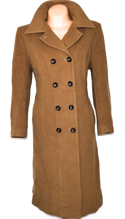 Vlněný (85%) dámský hnědý dlouhý kabát Precis XL