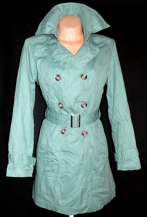 Bavlněný dámský zelený kabát s páskem YESSICA 42