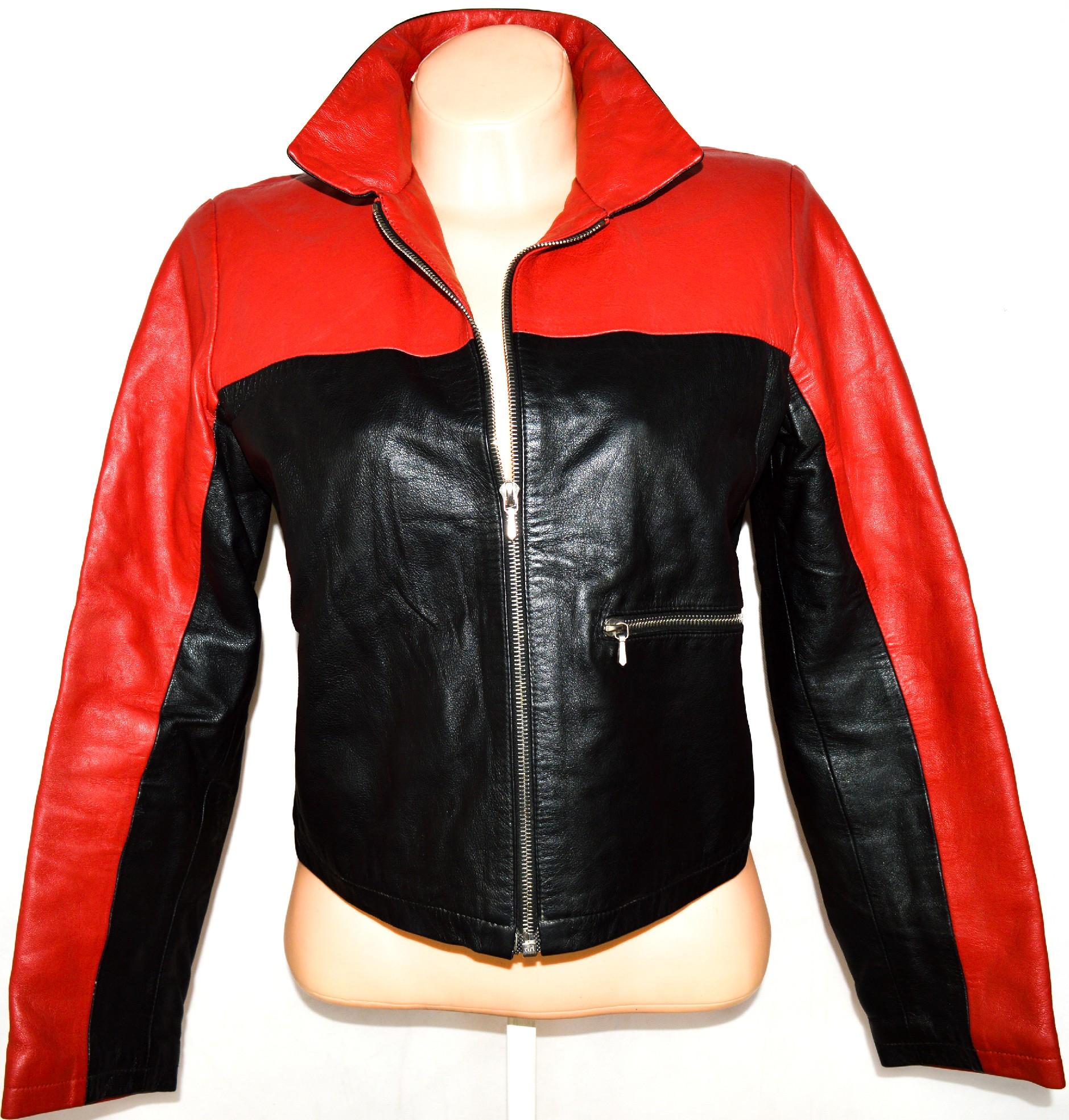 KOŽENÁ dámská černo-červená měkká bunda na zip L
