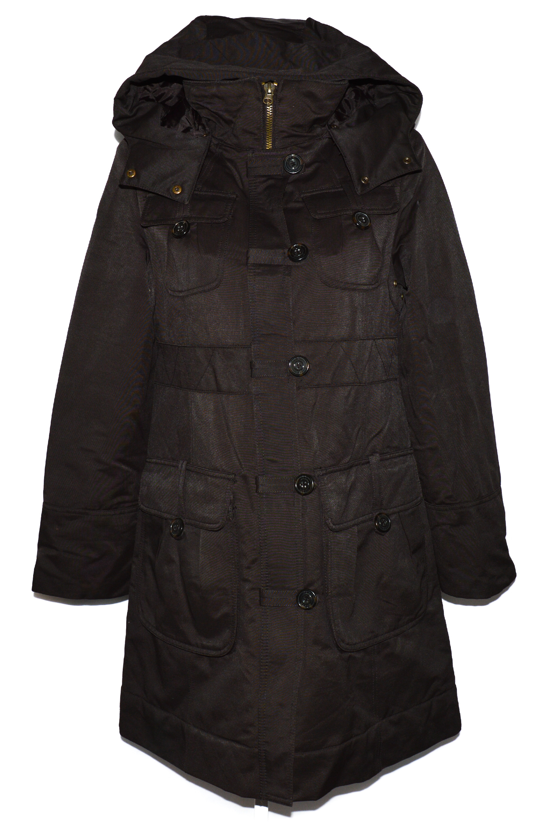 Dámský hnědý zateplený kabát s kapucí ZARA L
