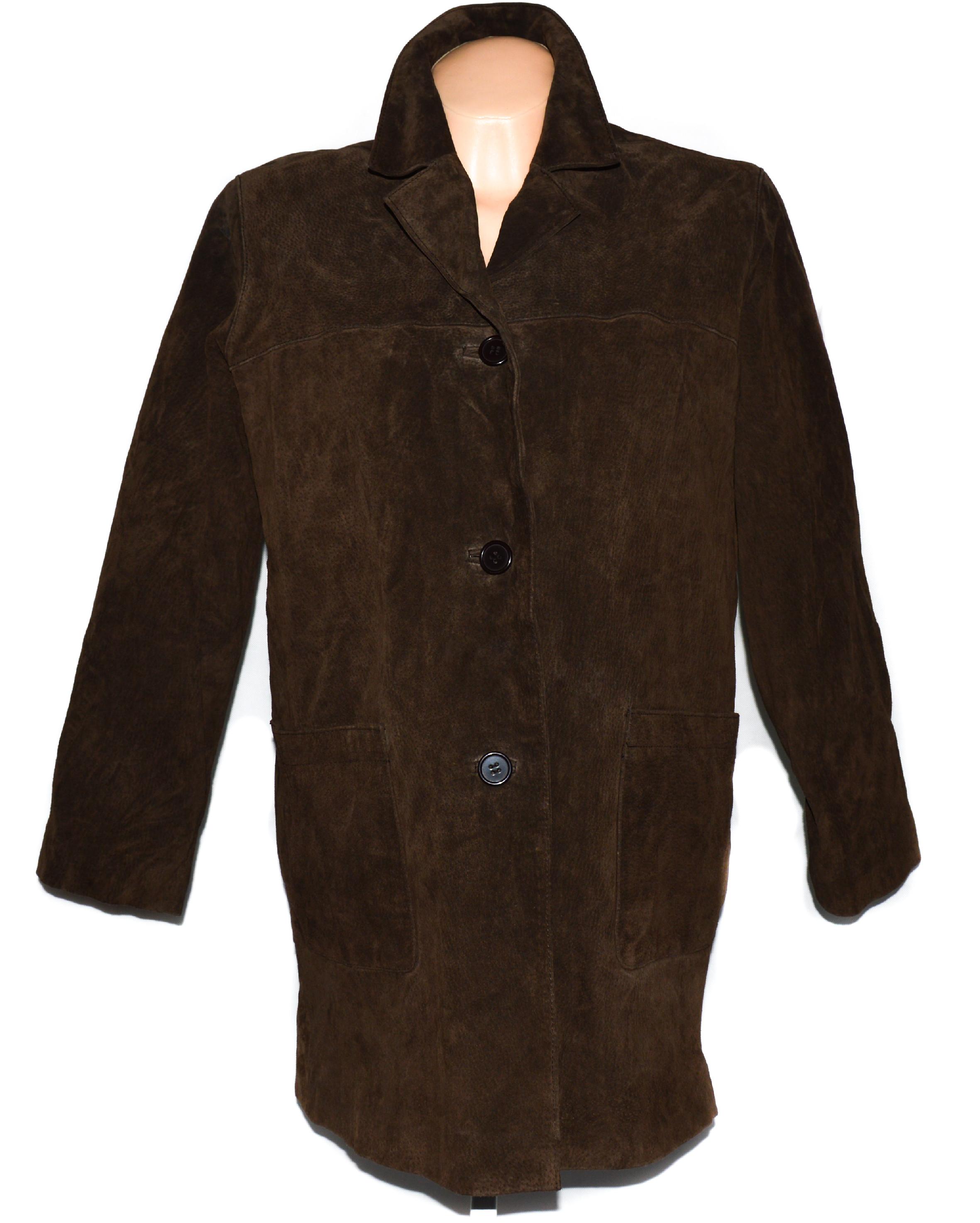 KOŽENÝ dámský hnědý broušený kabát HUDSON XL