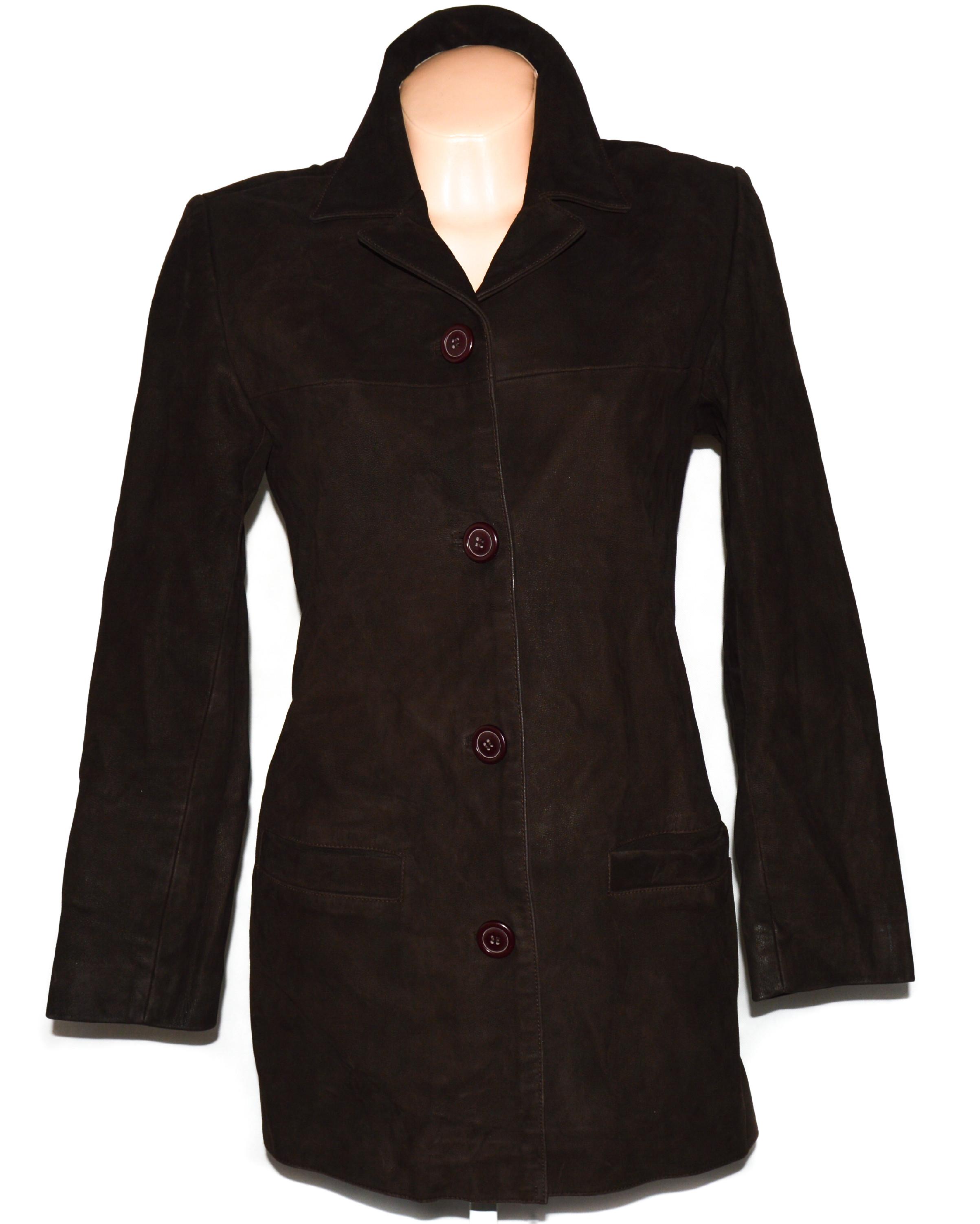 KOŽENÝ dámský hnědý kabát M