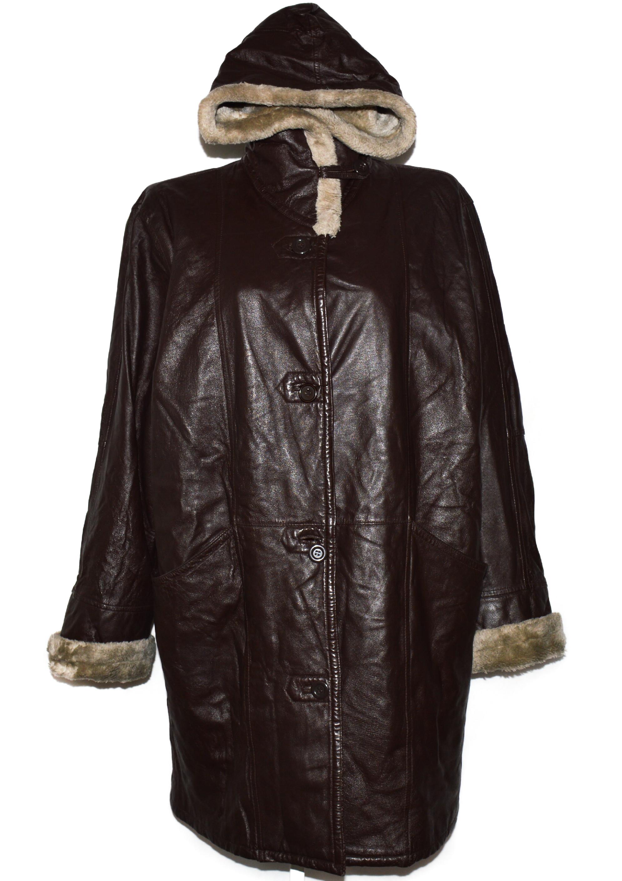 KOŽENÝ dámský hnědý kabát s kapucí a kožíškem XXL