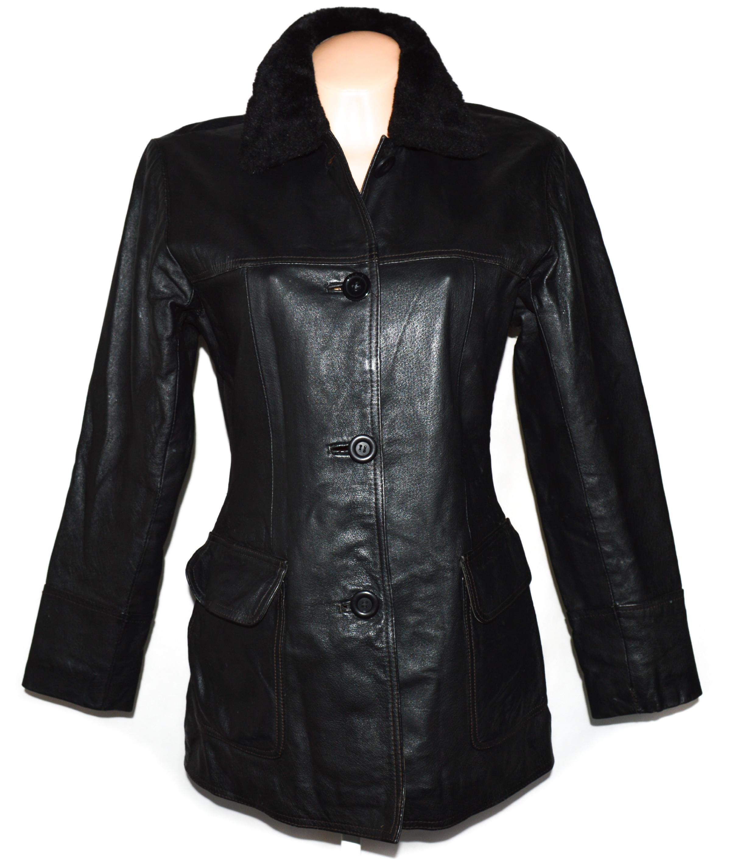 KOŽENÝ dámský černý kabát s kožíškem Outer Edge S