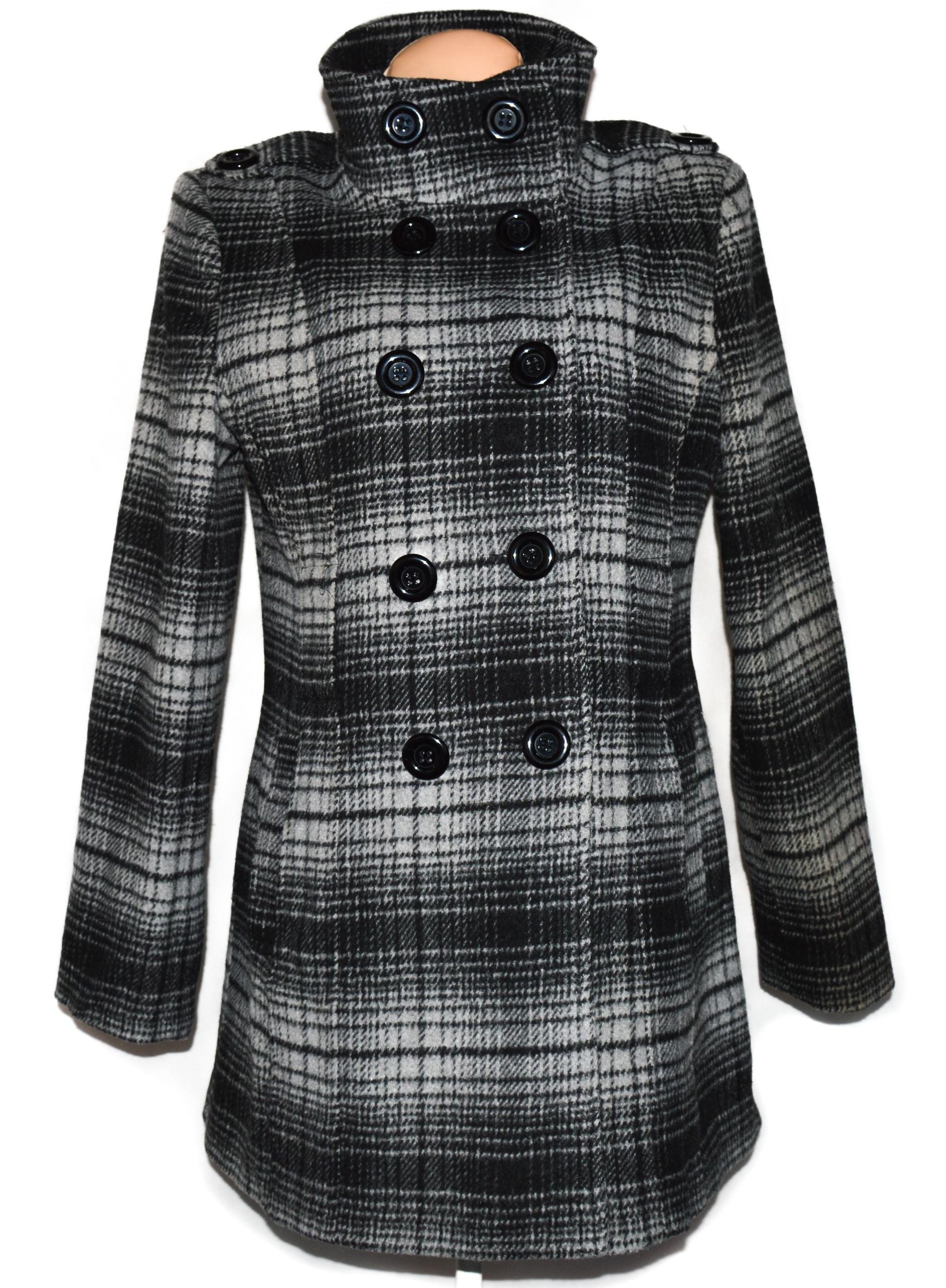 Vlněný (80%) dámský šedočerný kabát De La Creme L