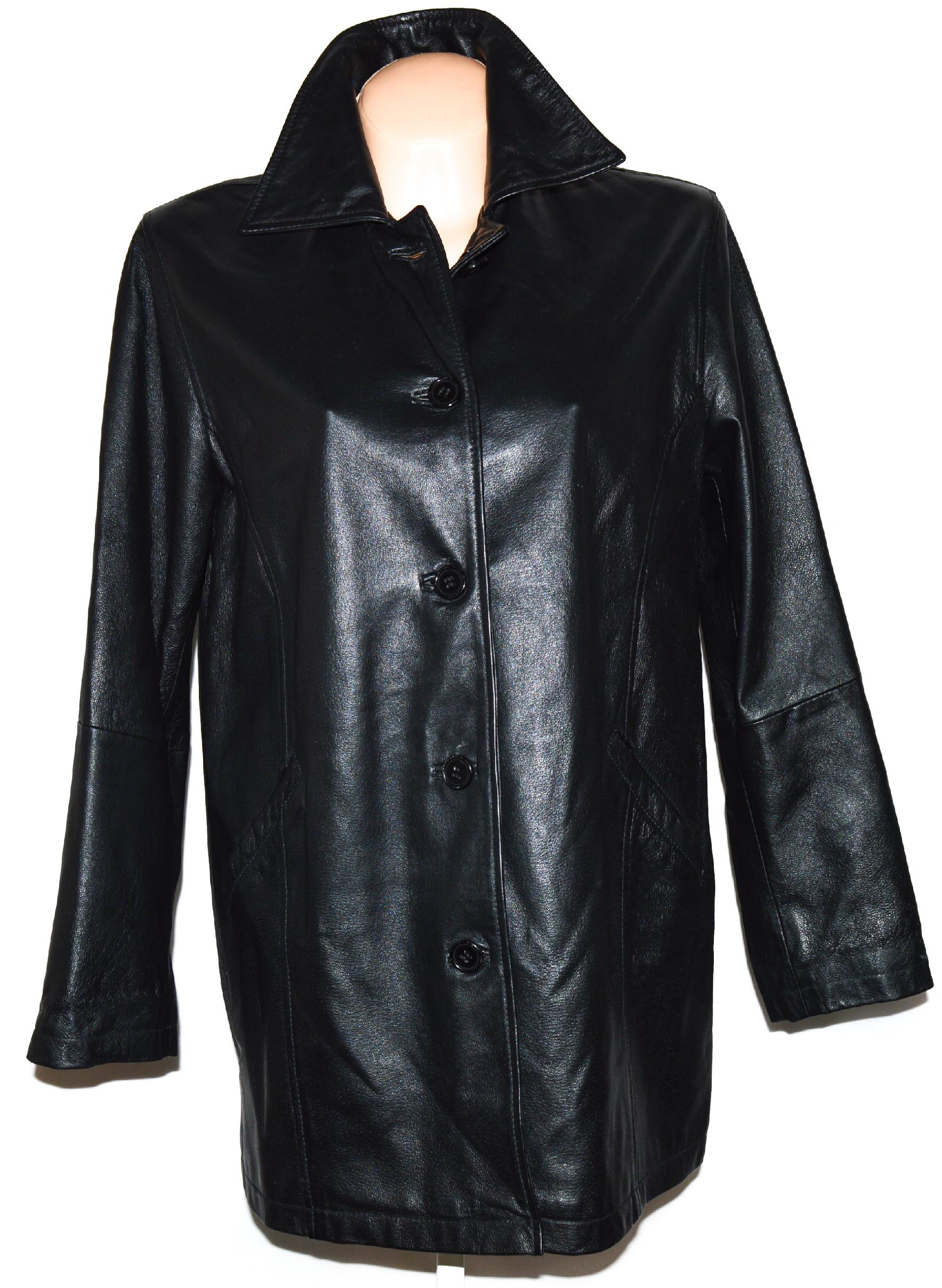 KOŽENÝ dámský černý kabát L, XL, XXL, XXXL