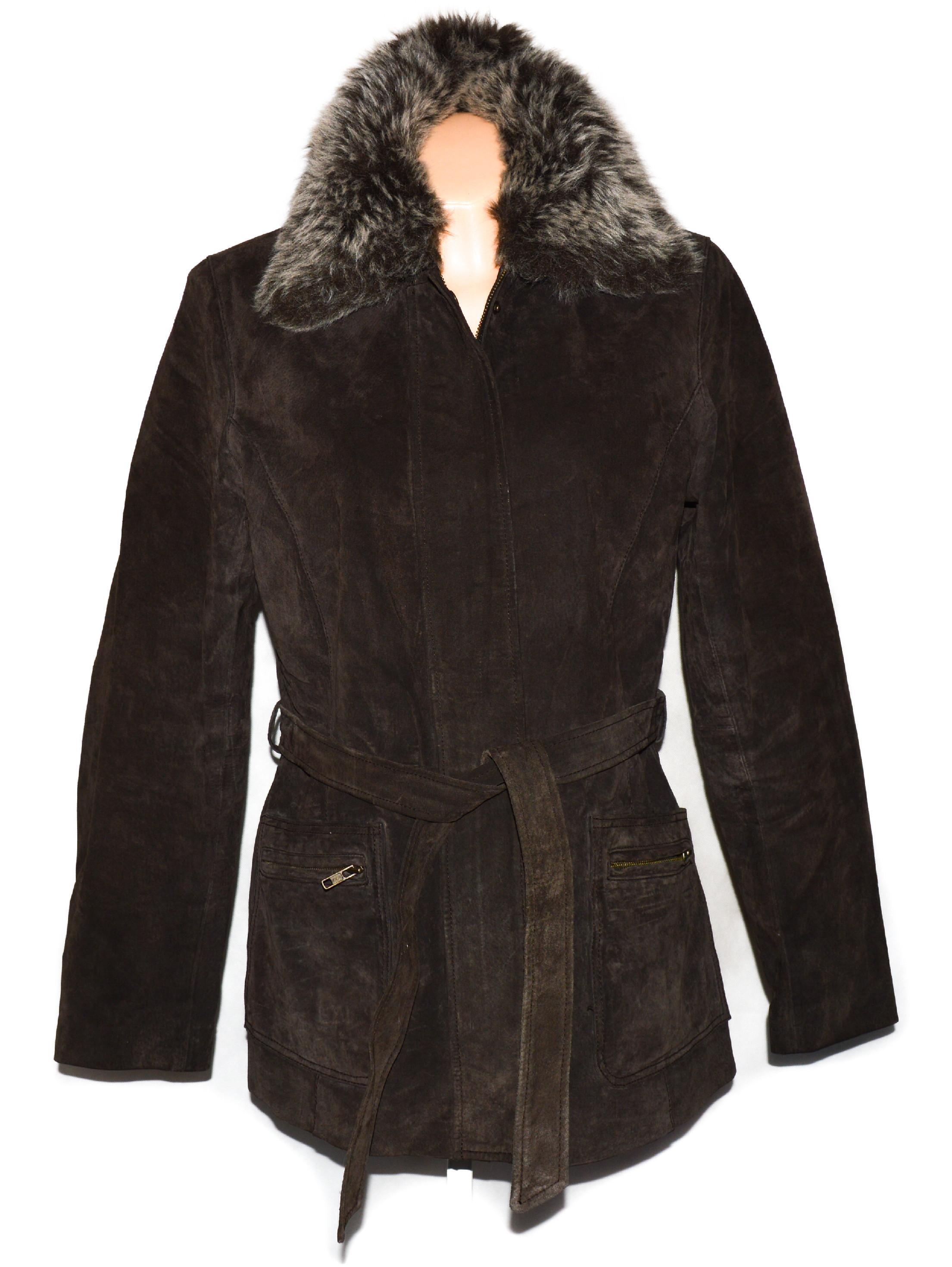 KOŽENÝ dámský hnědý broušený kabát s páskem a kožíškem PAPAYA M