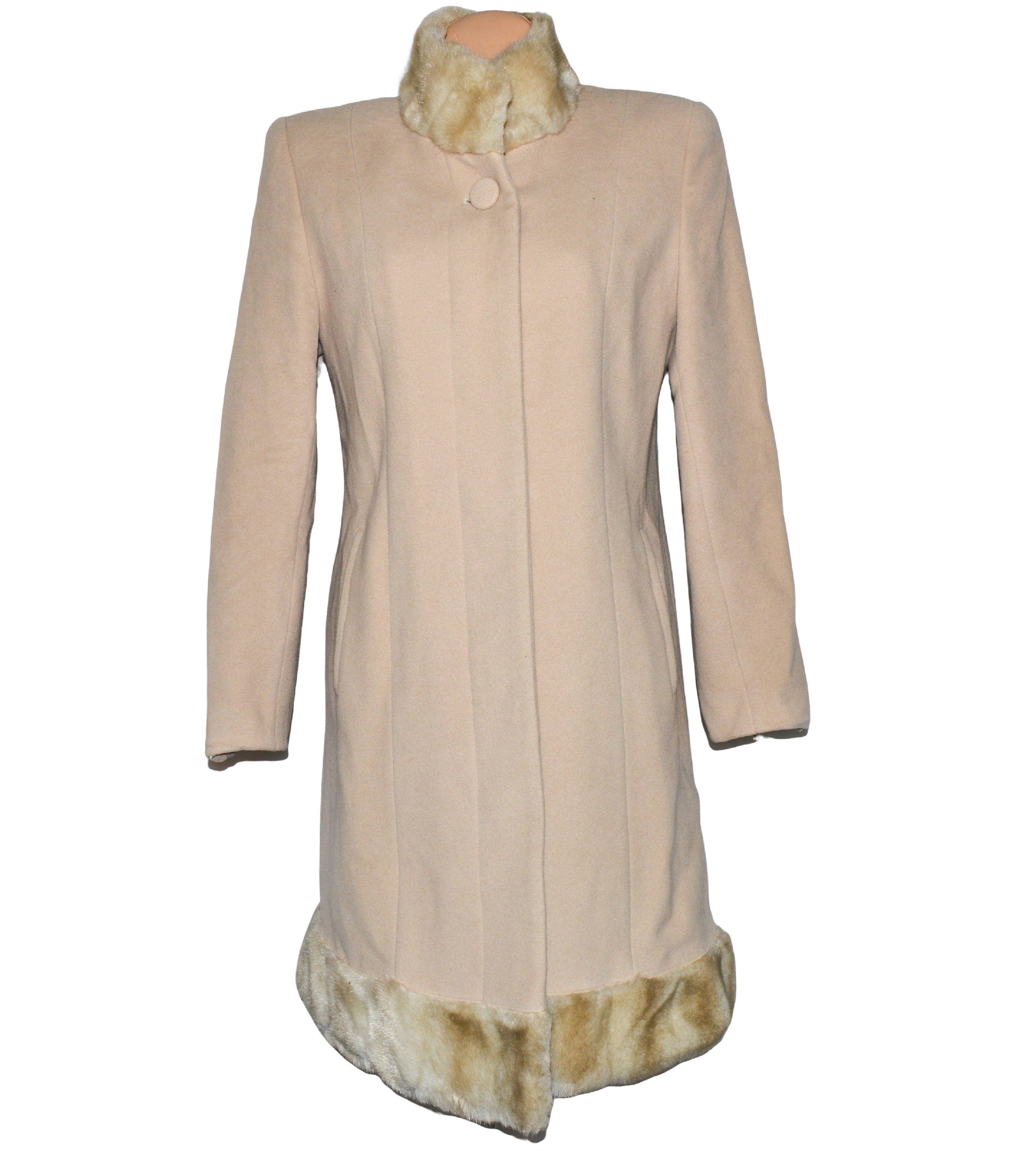 Vlněný dámský béžový kabát s kožíškem (vlna, kašmír) L