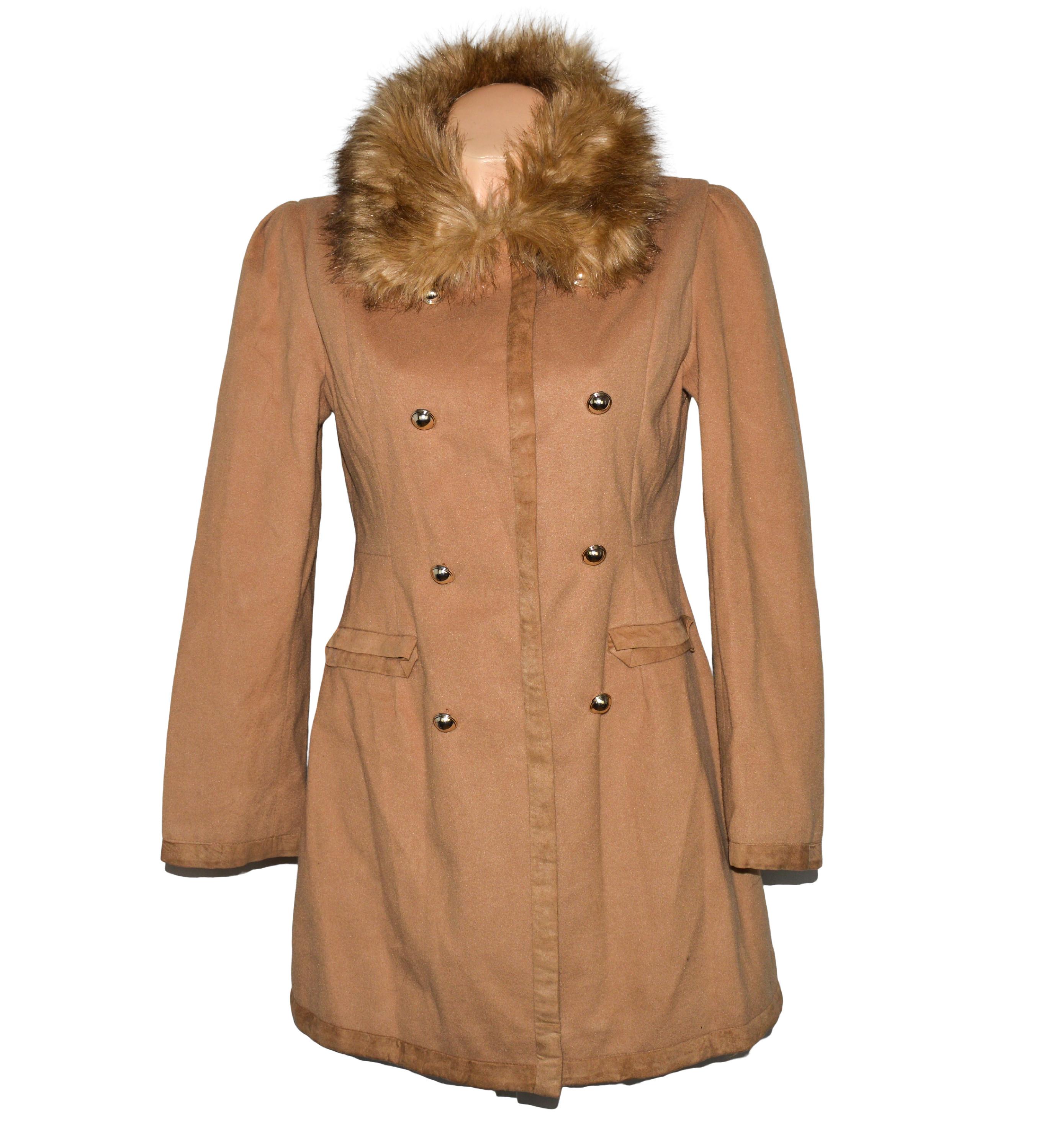 Dámský hnědý kabát s kožíškem S/M