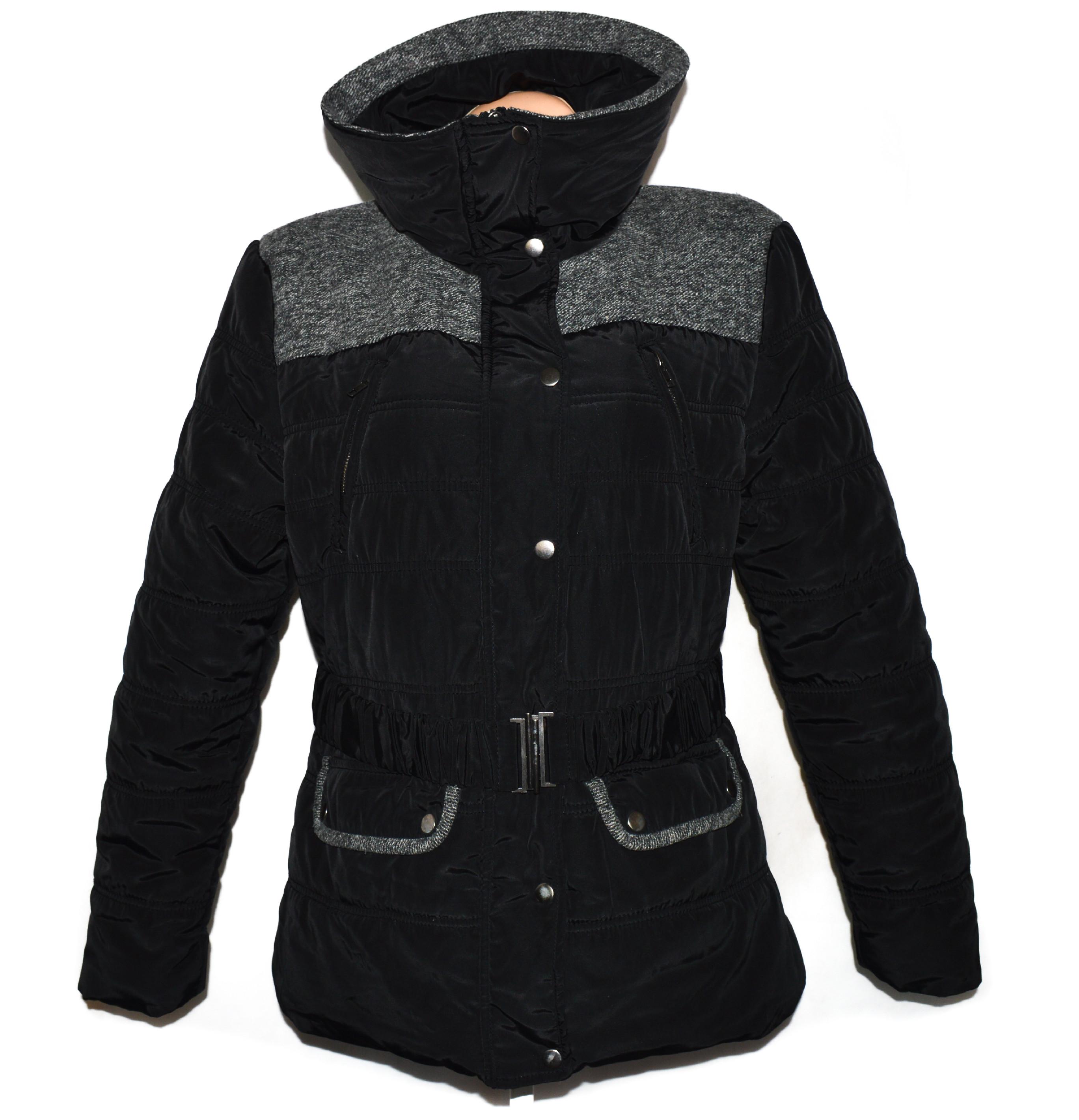 Dámský černý kabát s páskem UK 18