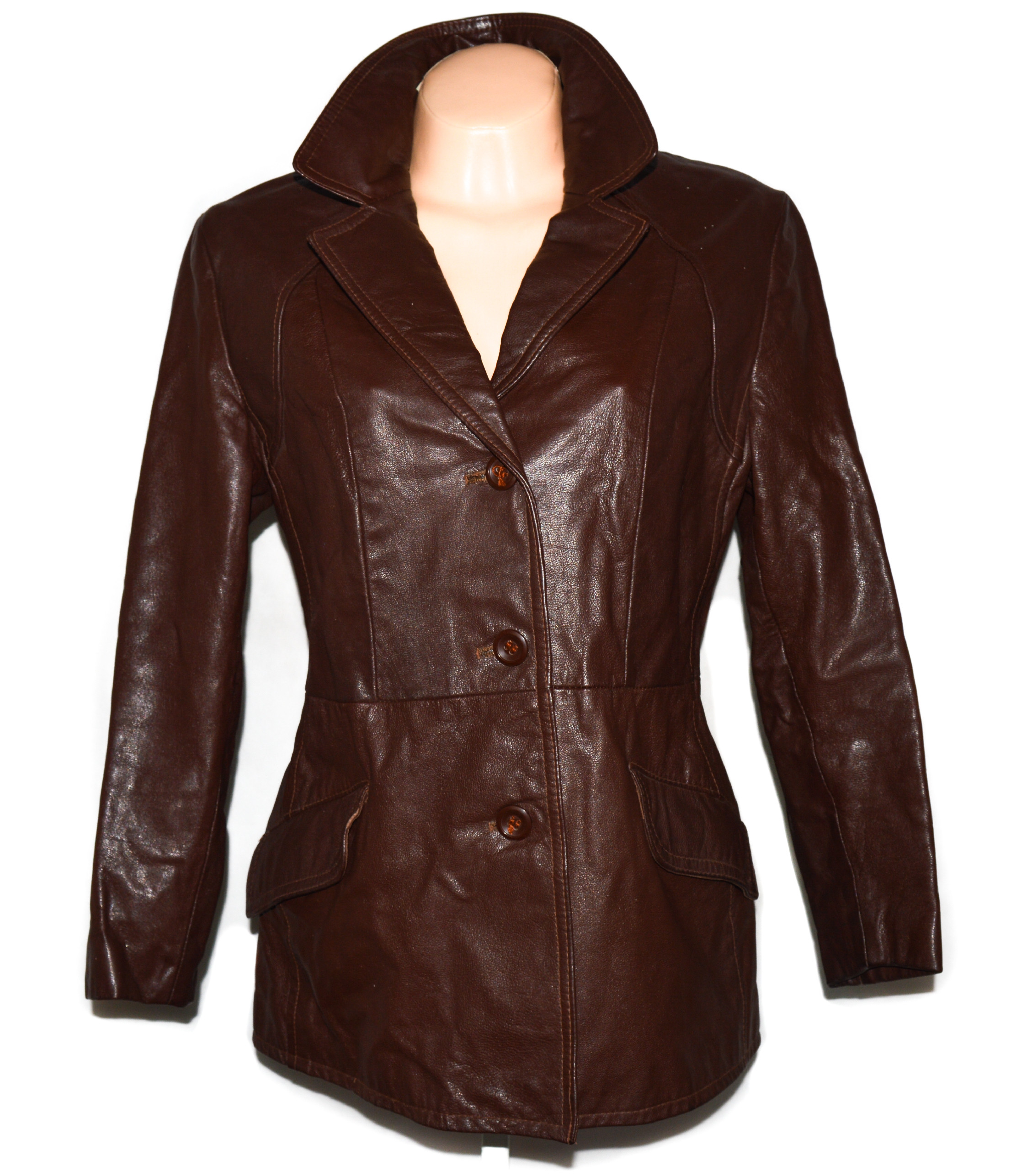 KOŽENÝ dámský hnědý kabátek - sako GALA L