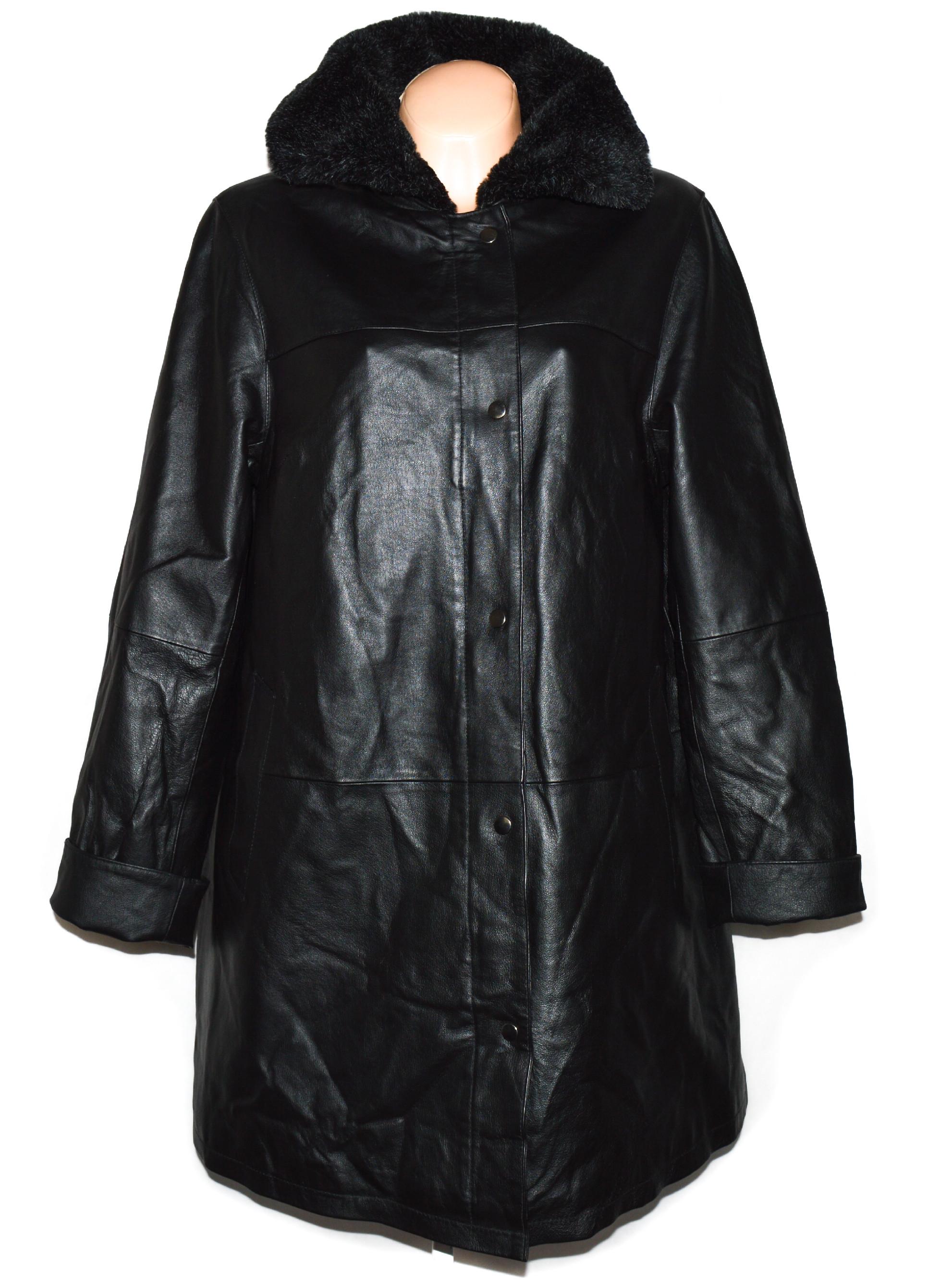 KOŽENÝ dámský černý měkký zateplený kabát s kožíškem XXL