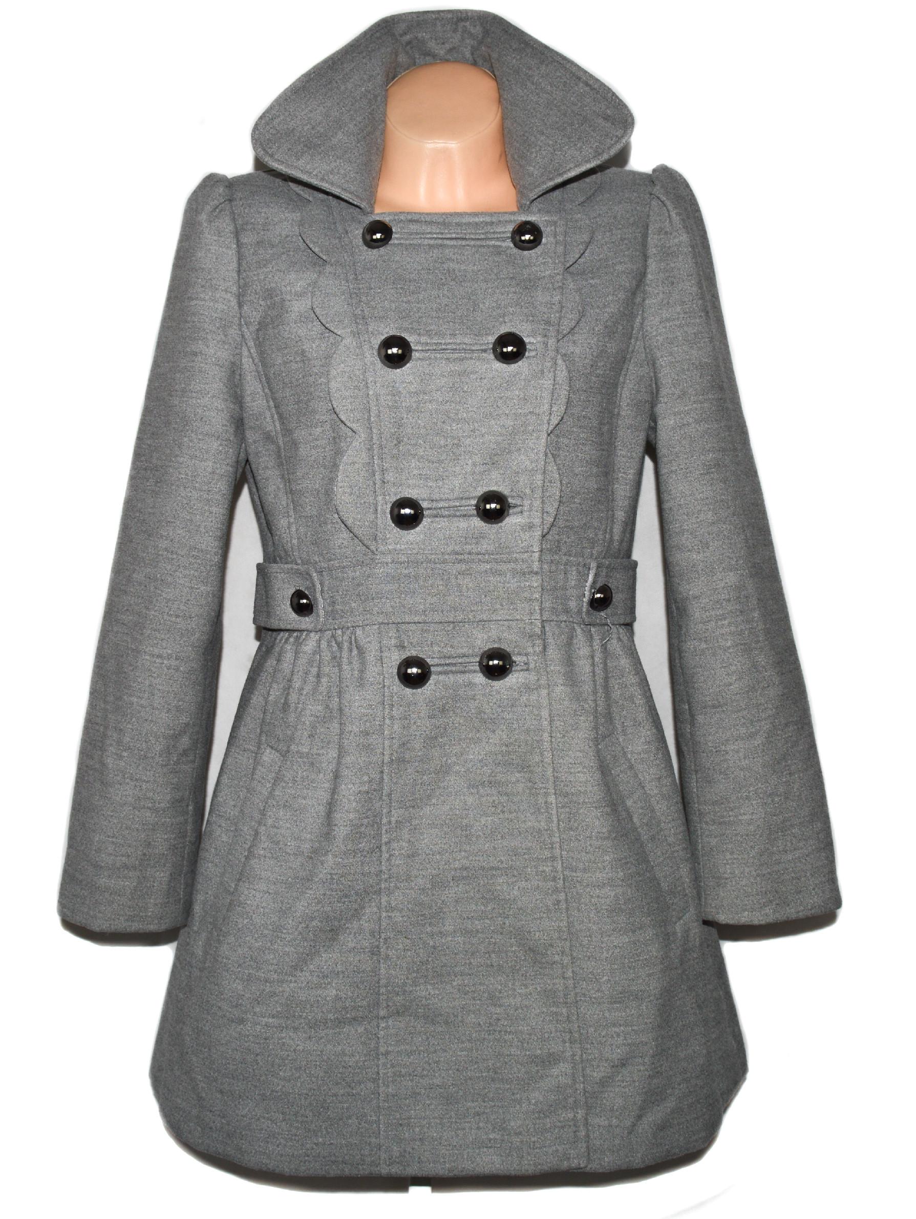 Dámský šedý kabát s volánky L