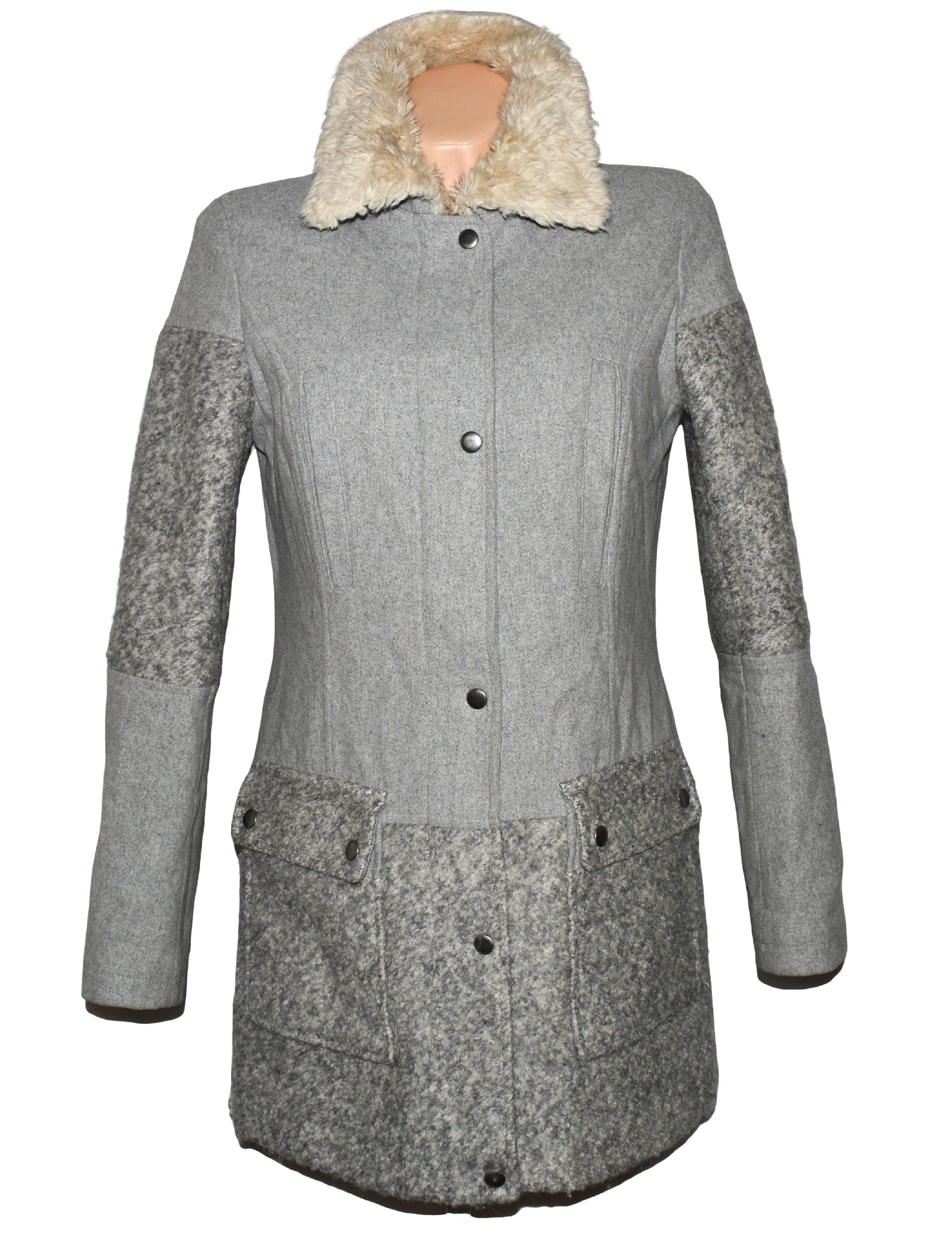 Vlněný dámský šedý kabát na zip Marks&Spencer 8/36, 16/44
