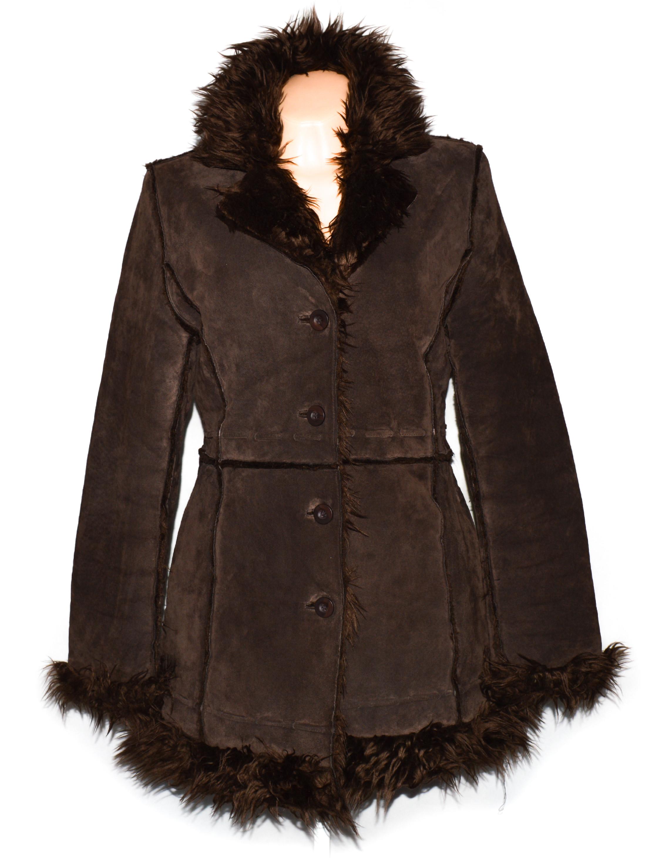 KOŽENÝ dámský hnědý broušený kabát s kožíškem Authentic 38