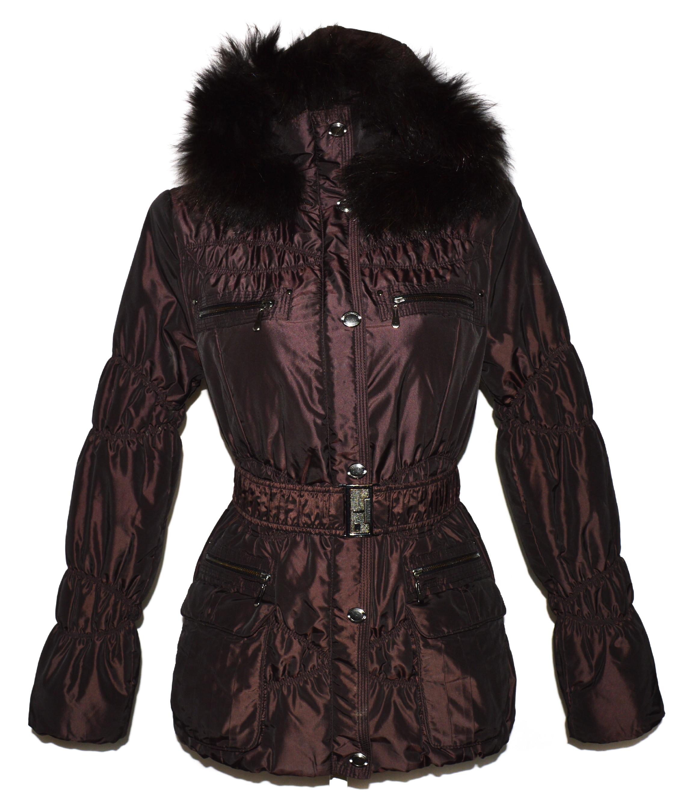 Dámský hnědý šusťákový kabát s páskem a kapucí 36