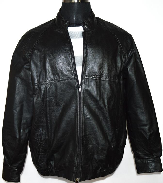 KOŽENÁ pánská černá bunda na zip M