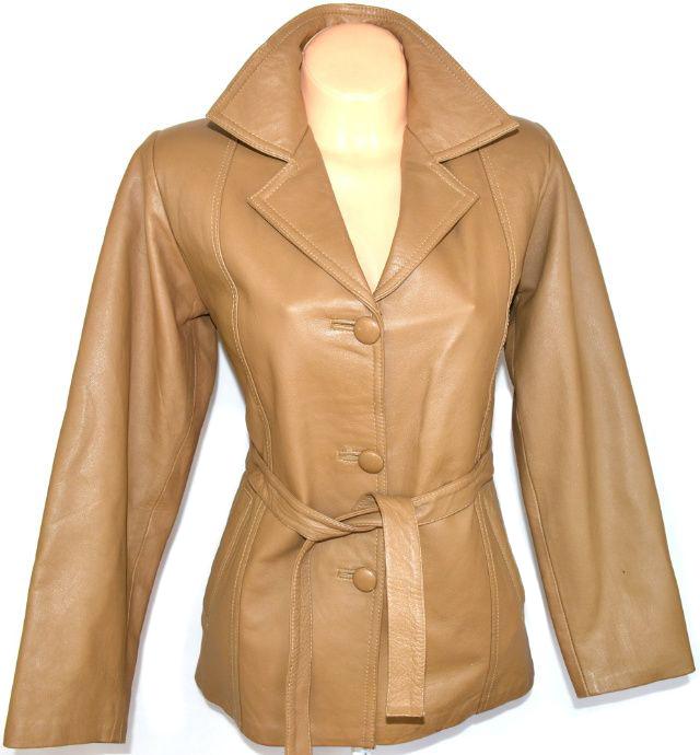 KOŽENÝ dámský měkký hnědý kabát s páskem L
