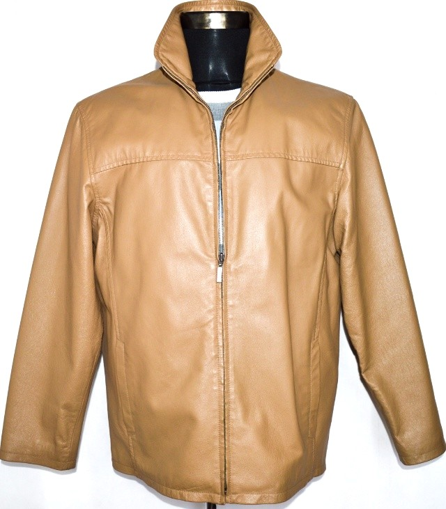 KOŽENÁ pánská hnědá bunda na zip C&A vel. M