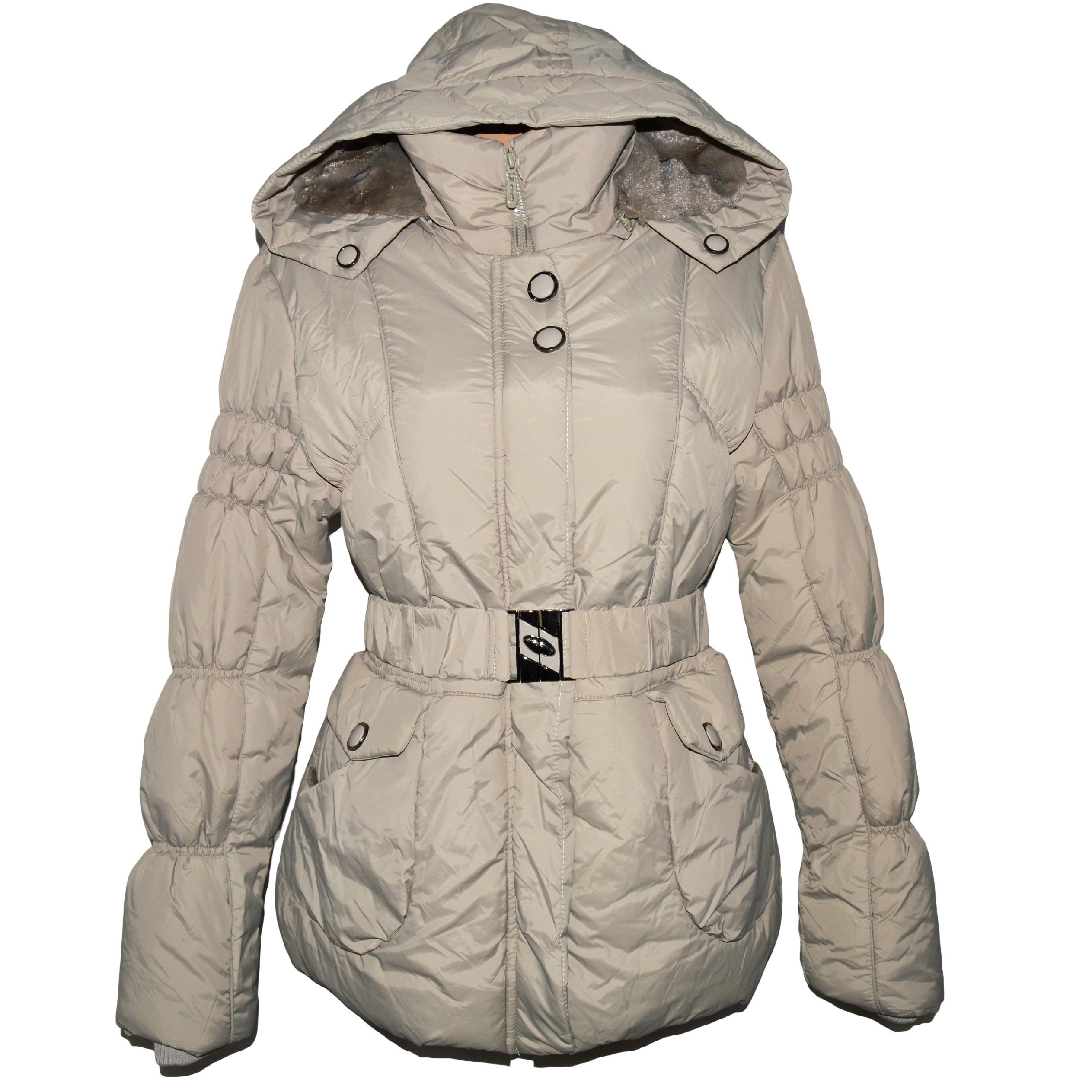 Dámský béžový šusťákový kabát s páskem a kapucí EMT XL