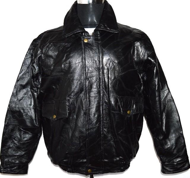 KOŽENÁ pánská černá retro bunda/ pilotka vel. L