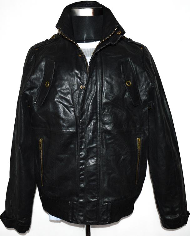 KOŽENÁ pánská černá bunda na zip BLEND vel. L
